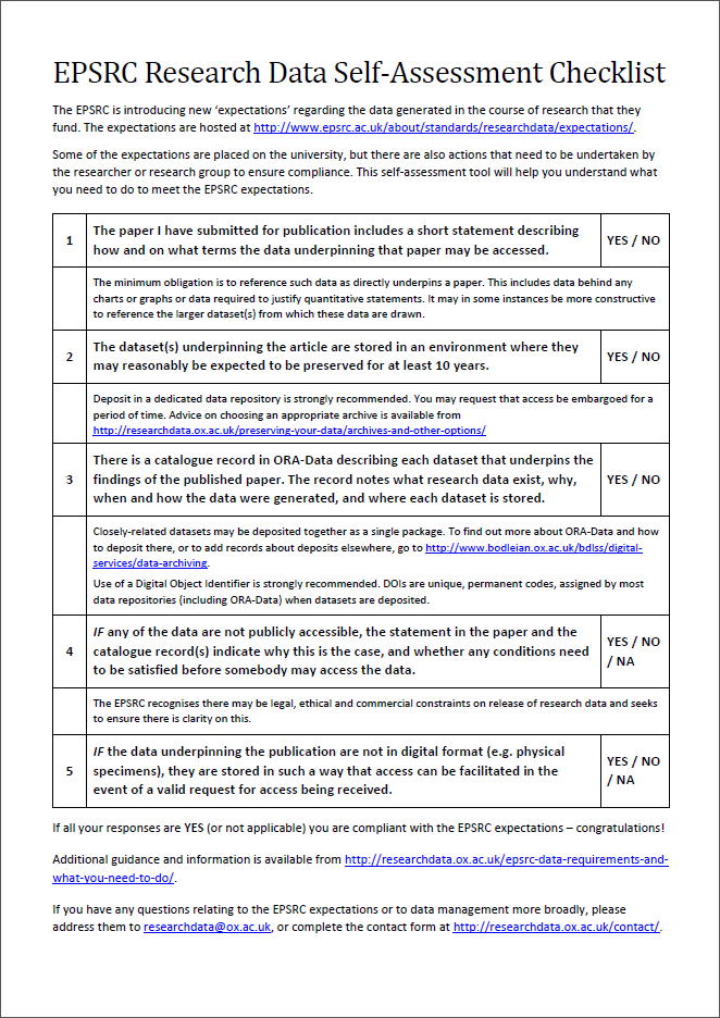 EPSRC Self-assessment checklist